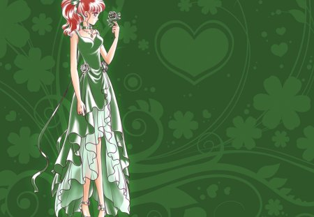 Princess Jupiter - pretty, floral, nice, makoto, love, anime, royalty, sailor moon, beauty, anime girl, long hair, lovely, ribbon, gown, sexy, abstract, cute, dress, divine, beautiful, elegant, sailor jupiter, magical girl, blossom, green, heard, hot, gorgeous, female, brown hair, makoto kino, girl, flower, princess