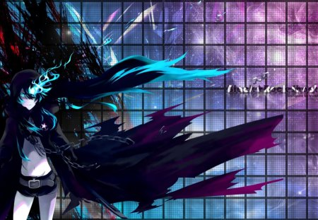 Black Rock Shooter - blue, rock, hot, anime, eye, shooter, cute, girl, hair, black