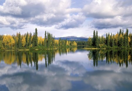 great lakescape - forest, mountains, reflections, clouds, lake