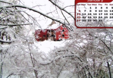 Barn- January calender - january, canlender, barn, winter, month, snow, freezing, ice, frozen, barns