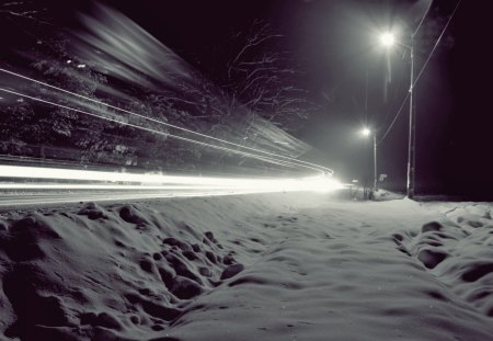 Night Lights - stree, snow, wind, blowing, midnight, lights, night