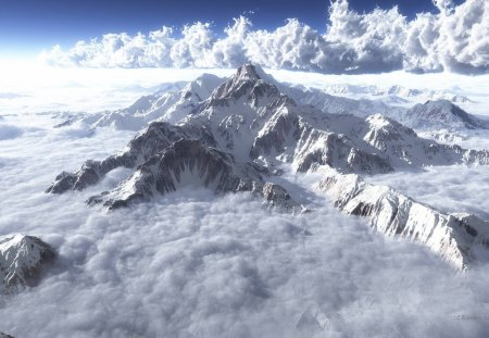 Mountain Clouds - atlas, cloud, sun, clouds, cloud atlas, mountain, snow, mountains, peak