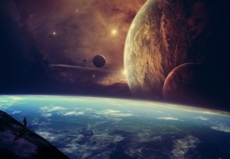 Planets - stars, moons, planets, space, man, clouds, watching, atmosphere, observing, human, planet, dust, galaxies, star