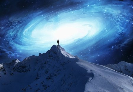 Mountain Top Space Walk - planets, space, cold, mountain, nebulas, galaxies, top, stars, gazing, winter, galaxy, centar of a galaxy, snow, mountains, walk, dust, looking