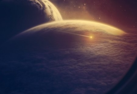Space view - planets, view, space, comet, meteor, clouds, asteroid, shuttle, galaxy, spaceship, space shuttle, moon, planet, dust, star