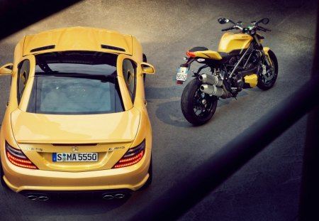 mercedes and ducati - spedd, mercedes, road, ducati