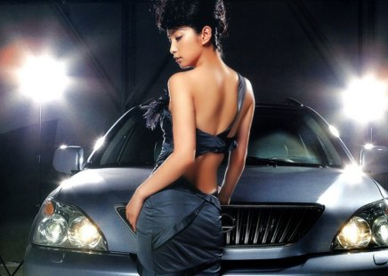 Asian and car - asian, sexy, light, car