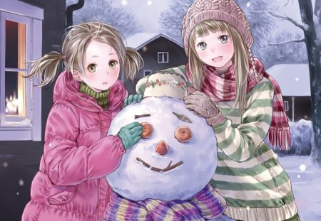 Snowman - pretty, house, adorable, magic, women, sweet, love, anime, beauty, anime girl, long hair, lovely, amour, winter, building, cute, snow, maiden, divine, adore, beautiful, sublime, woman, sweater, hot, gorgeous, female, exquisite, brown hair, snowman, kawaii, girl, precious, magical, lady, angelic