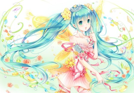 Miku Winx - pretty, green eyes, adorable, magic, wing, women, sweet, floral, pixie, fantasy, love, anime, flowers, beauty, anime girl, long hair, fairy, wings, lovely, gown, amour, miku, singer, cute, crown, green hair, idol, maiden, superstar, dress, divine, hatsune miku, adore, beautiful, sublime, woman, blossom, hot, tiara, gorgeous, female, exquisite, diva, kawaii, girl, flower, precious, magical, aqua hair, princess, lady, angelic