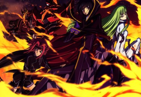 Feasr 3!!! :) - code geass, red hair, fire, short hair, darkanime, lelouch lamperoug, boy, cool, darkness, cc and kallen stadtfeld, girls, green hair, long hair, black hair