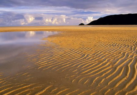 ripples in the sand on a broad beach - hill, ripples, clouds, sand, pool, beach