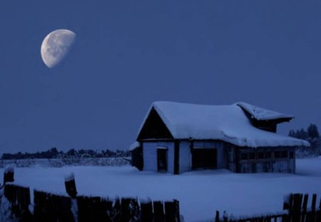 Winter Scene - moon, snow, cabin, sky, winter