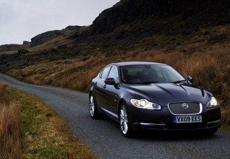 jaguar xf - car, road, xf, jaguar