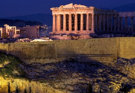 the wonderful acropolis in athens - mountain, ancient, ruins, wall, lights