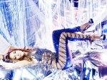 Bellissima ragazza in fantasia di blu 2