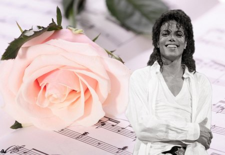 ๑♥๑ Eternal Innocence ๑♥๑ - michael jackson, innocence, rose, magic child, music notes, proud of being your fan, ETERNAL, love, forever, brilliant, pale pink, one single rose, music, black, unique, happy, gentleman, pure smile, entertainment, dance, white