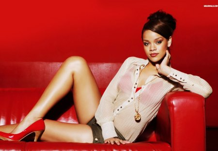 Rihanna on couch - red, rihanna, ethnic, legs, couch, heels, singer