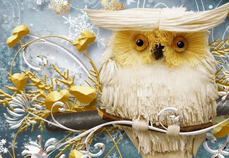 Wise Winter Owl - Christmas, decorations, collage, gold, bird, snow, winter, snowflakes, whimsical, owl