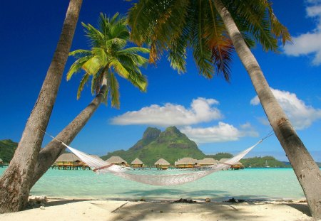Hammock On The Beach - ocean, paradi, descanso en hamaca, cooll, french polynesia, lovely palms and thatch huts, polynesia, hammock, ef, french, tropical, palm trees, bora bora, tropics, beach