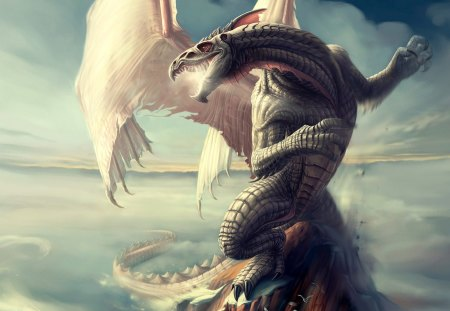 Dragon Spire - fantasy art, dragon, tlockwood