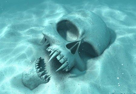 Sandy Skull - cool skull, vampire skull, skull, sandy skull, ocean, kierra, sand