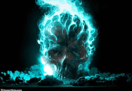 Blue Flames - its so cool, blue flame, skull, blue fire, blue flames, flamin skull