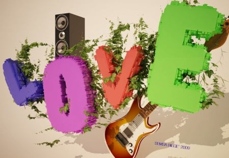 fancy love! - fresh, grass, abstract, friends, letters, cute, guitar, love, colors, music, word, heart, 3d, beauty, lovely, charming, green, sterio, typo