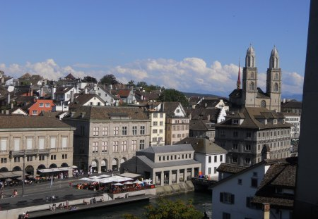 Zurich panorama 4 - photo, architecture, object, take, church, panorama, building, nice, zurich