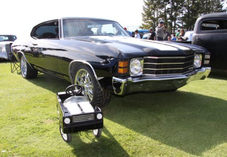 1971 Chevy Chevelle - nickel, headlights, Chevrolet, black, tires, chrome