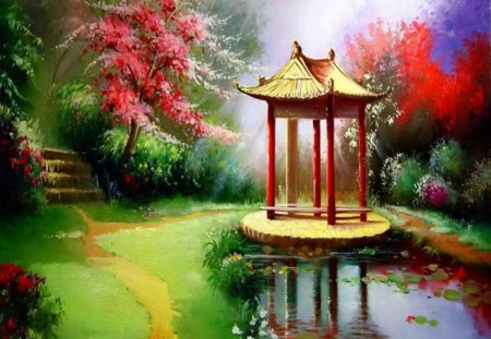 Beautiful Paintings - colorful paintings, grass, beautiful nature, flowers, colorful leaves, trees, lake