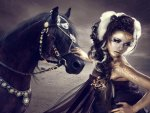Beautiful woman & Beautiful black horse