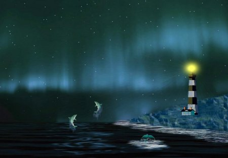 Northern Light Show - Dolphins & Animals Background Wallpapers on
