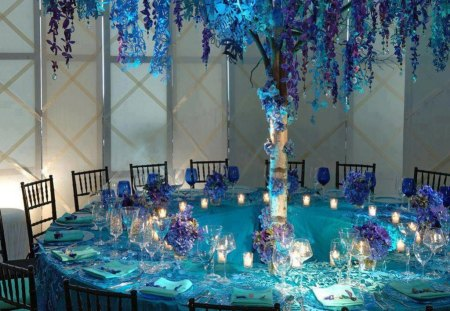 Romantic Dinner - dinner, tables, romance, beautiful blue color, beautiful purple flowers, cutlery, glasses, candles, romantic dinner, love, chairs, low light, light
