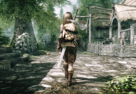 Hunter Girl - fur, town, hunting, sword, trees, hunter, hut, boots, woman, girl, skins, plants