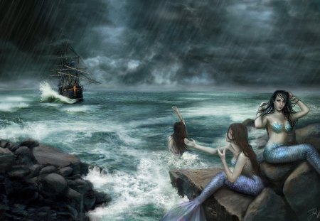 Sirens on the rocks - waves, Deviant art, boat, storm, ReddEra art, mermaids, Sirens on the rocks