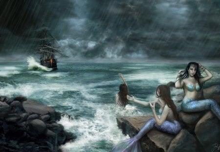 Sirens on the rocks - storm, Deviant art, mermaids, waves, ReddEra art, boat, Sirens on the rocks