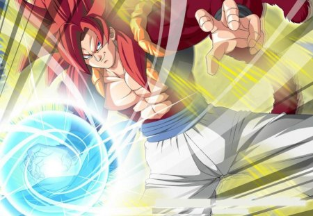Gogeta - goku, gogeta, fusion, dbz, tail, red hair, saiyans, vegeta, spiky hair, dragonball gt, anime