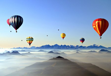 Up In The Sky - colorful, peaceful, landscape, sunrise, hot air balloons, sky, colors, splendor, balloon, mountains, nature, hot air balloon, beauty, beautiful, lovely, balloons, clouds