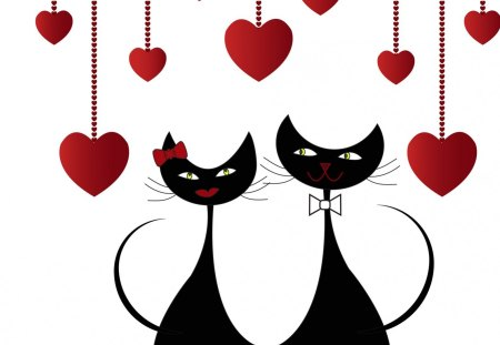 Valentine Cats - hearts, kitty, cat, Valentines Day, sweet, felines, black and white, cute, February, kitties, romance, whimsical, kitten, love