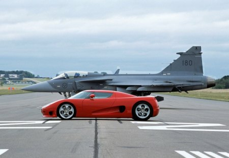 fighter plane vs koenigsegg - cars, koenigsegg, plane, fighter