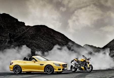mercedes slk amg and ducati streetfighter - benz, mercedes, slk, ducati