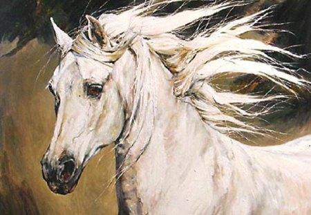Beautiful white horse paintings - photo#8