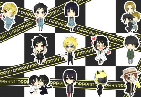 Durarara Characters - cg, spoild, orihara izaya, conspiracy, shinra, motorcycle, jpn, fantasy, love, anime, shizuo, helement, cartoon, abstract, supernatural, tv, gang, durarara, cute, breaking points, ghost, dollars, crime, psp, rumors, world, champion, light novel, coming of age, video games, Dullaha, kida, city life, blade, keep out, tokyo, informant, trouble, izaya, friends, black hair, warning, war, fight scene, manga, kishtani, blak rider, scared, growing up, spirit, ation, heiwaijima, social network, fight, drama, childhood, scene