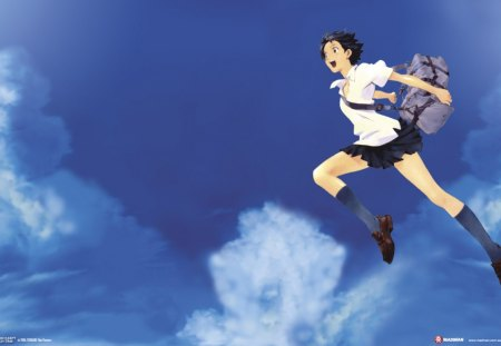 The Girl Who Leapt Through Time - bag, makoto, sky, time