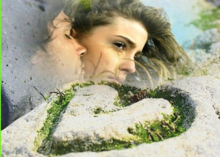 Romantic Love - with closed eyes, green heart, man, woman, kiss, hug, romantic love, love, nature
