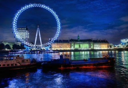 The London Eye - architecture, thames, london eye, england, buildings, beautiful, sky, clouds, lights, boats, water, london, nature, rivers, blue, night