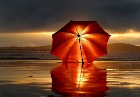 Umbrella - red, umbrella, sunset, sea, beach, tide, sand, water, sunrise