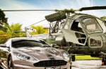 aston martin dbs1 and helicopter hdr