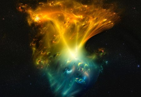 Phedres Nebula - fire, space, blue, aurora, abstract, orange, ice, phedres nebula, bliss, nebula