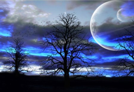 Magical Skies - skies, blue, magical, moon, tree